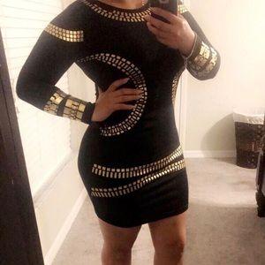 Dresses & Skirts - Black & Gold midi dress
